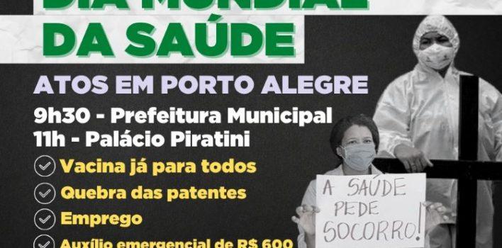 CUT-RS e centrais realizam manifestações por Dia Mundial da Saúde nesta quarta, 07