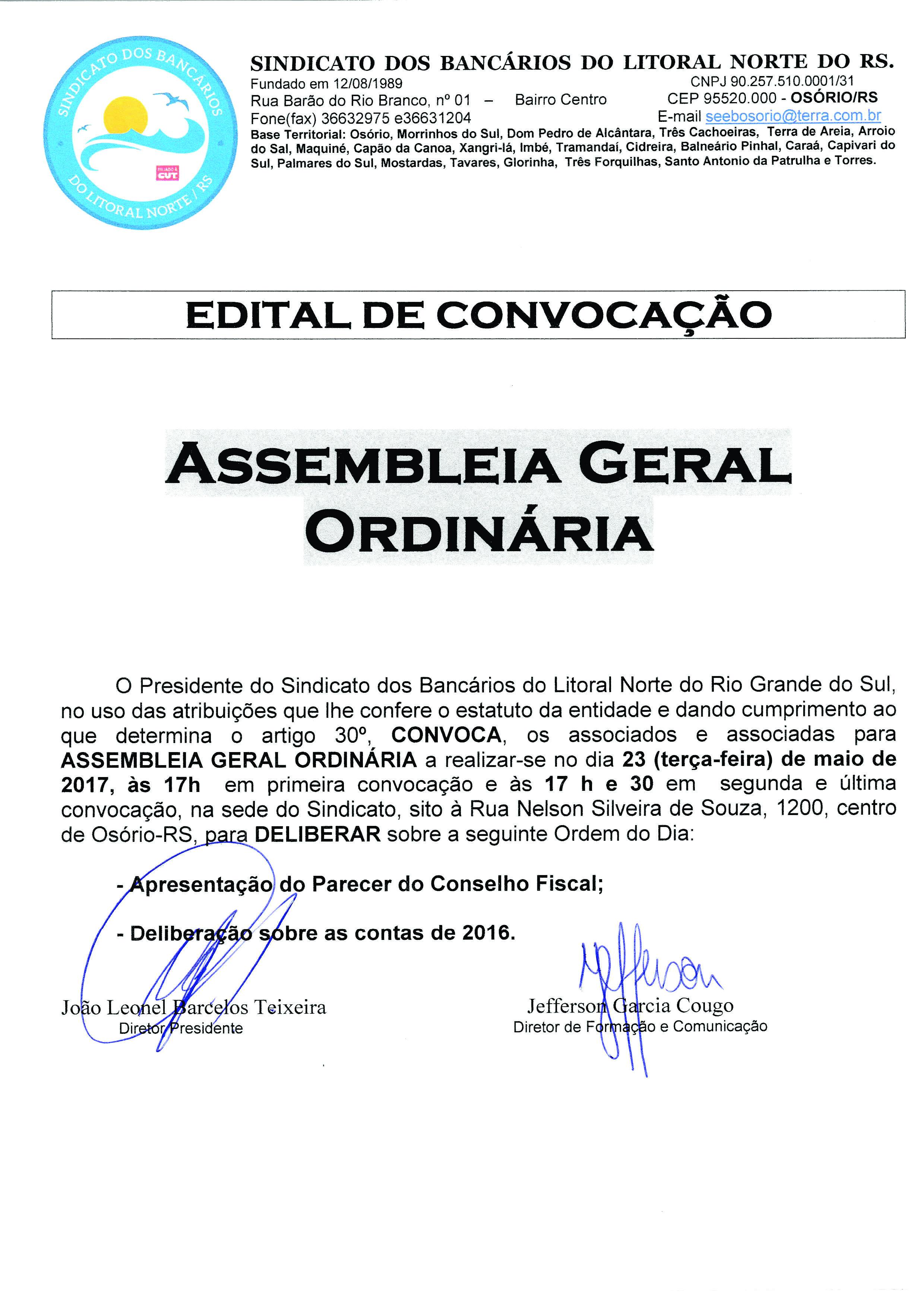 Edital de Convocação- Assembleia 23/5/2017