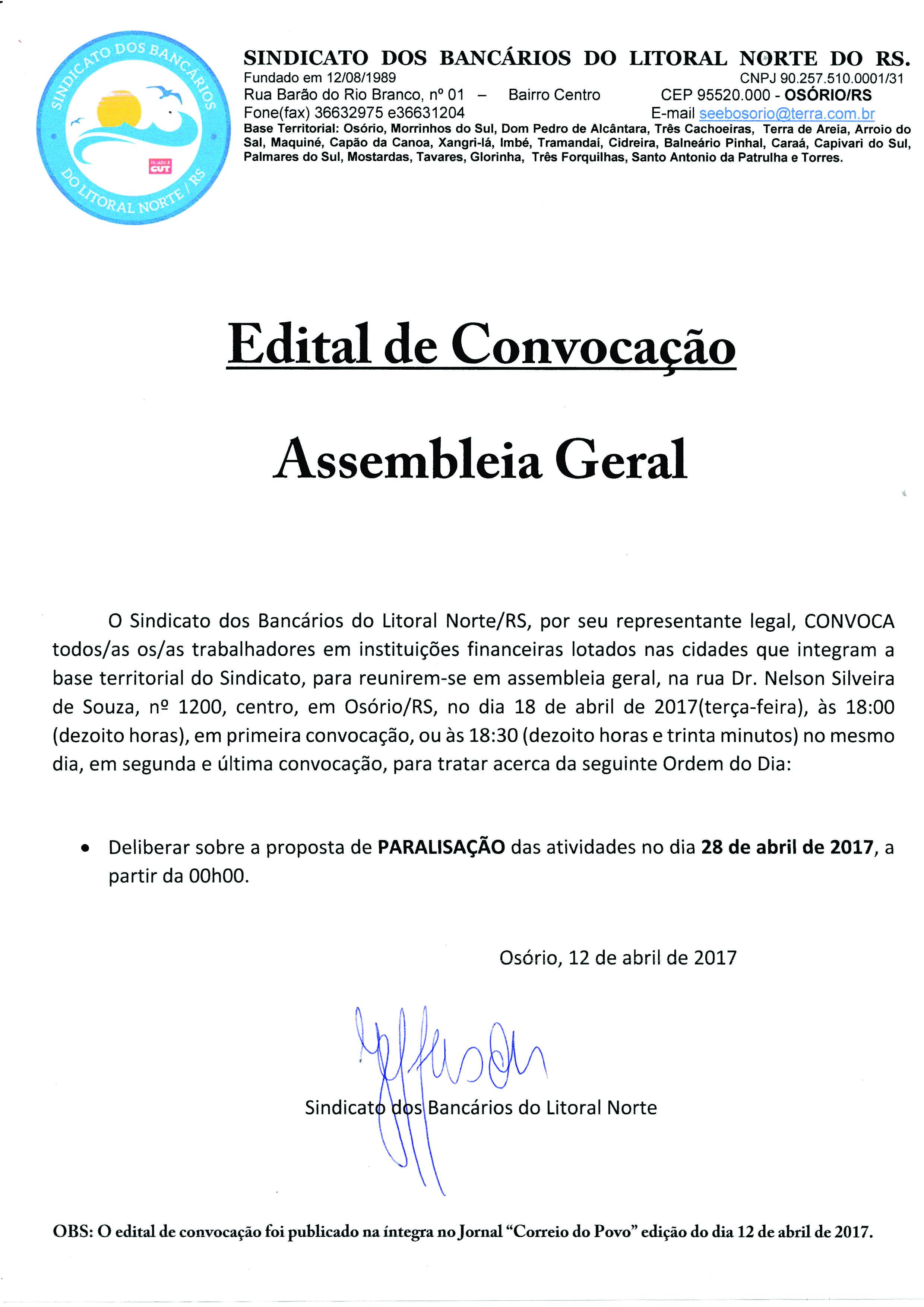 Edital de Convocação- Assembleia Geral 18/04